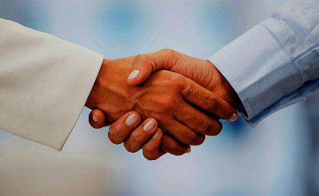 Two people having handshakes